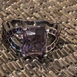 Steel grey with purple stone ring